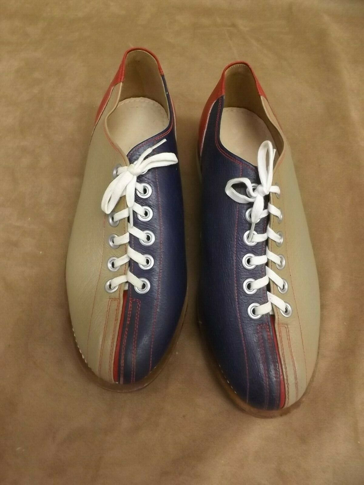 VTG NEW NOS bluee Red Tan Leather Soles & Upper Bowling Rental shoes Womens 5