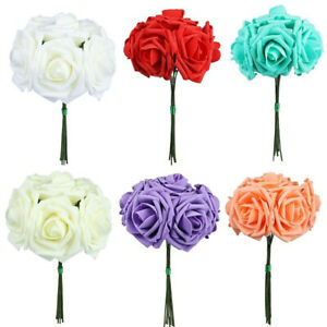 Am-10-Heads-1-Bouquet-PE-Foam-Artificial-Fake-Rose-Flower-Bride-Wedding-Decor-N