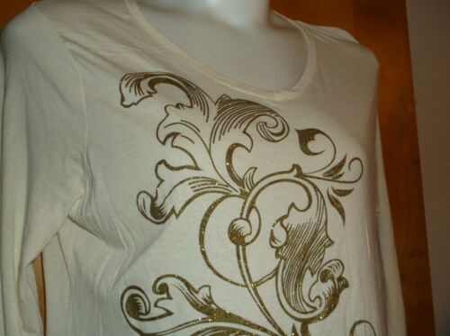 NEW  JUST MY SIZE LADY/'S CHALK WHITE SCOOP NECK  L//S GOLD DESIGN PULLOVER TOP