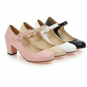 Women-039-s-Ankle-Strap-Belt-Court-Shoes-Round-Toe-Mid-Chunky-Heels-Pumps-Work-Size