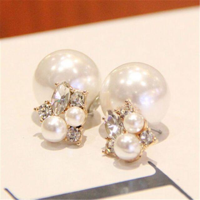 Fashion Women Double Side Gold Plated Rhinestone Crystal Pearl Ear Stud Earrings