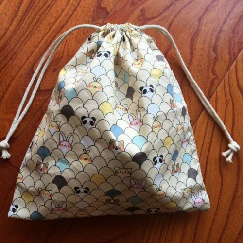 1pc Cotton Drawstring Pouch Multi-purpose Bag Cartoon Panda Bunny Mini Animal Pa