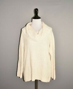 TALBOTS-99-Cream-Sequins-Ribbed-Cowl-Neck-Wool-Blend-Sweater-SP-Small-Petite