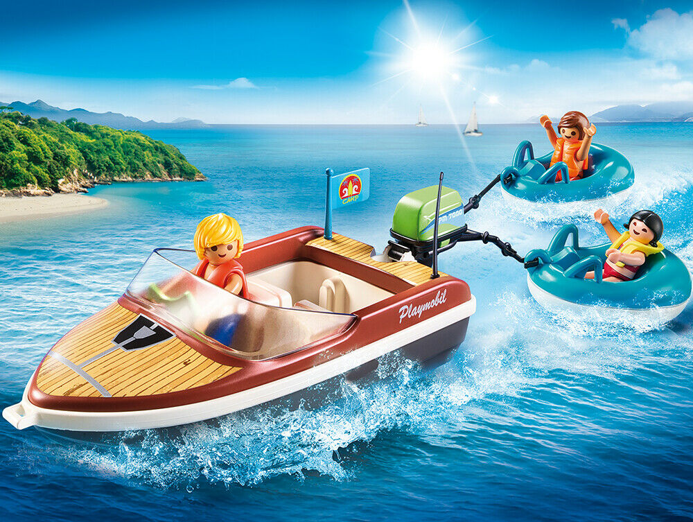PLAYMOBIL® 70091 Speedboat with Tube Riders - NEW 2019 - S&H FREE WORLDWIDE
