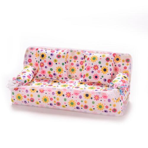 3Pcs//set Mini Dollhouse Furniture Flower Printing Cloth Sofa Couch/&2 CushioFBDU