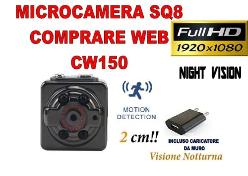 MICROSPIA SQ8 Camera Spia FULL HD MOTION DETECTION TELECAMERA NASCOSTA CW150