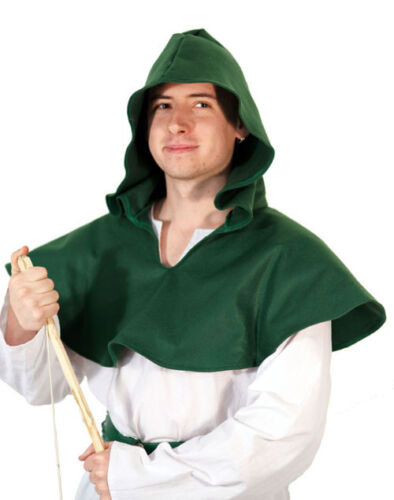 Medieval-larp-cosplay-robin hood-archer-large VERDE 100% Feltro Hero HOOD