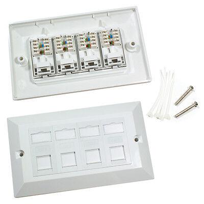 Quad CAT6 Data Wall Outlet Face Plate - 4 Port RJ45 Ethernet Network Data Socket