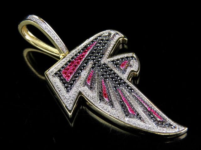 10k Yellow Gold Genuine Diamond Ruby Atlanta Falcons NFL Dirty Bird Pendant  2