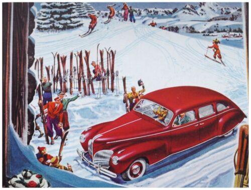 8877.Red car in snow.people with skis waiting.POSTER.art wall decor graphic art