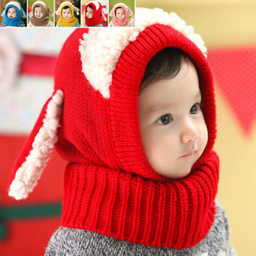Kids Cute Lamb Baby Toddler Winter Beanie Warm Hat Scarf Earflap Knitted Cap