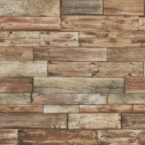 Wood Style Wallpaper Weathered Rustic Faux Plank Panel Life Like Brown Erismann
