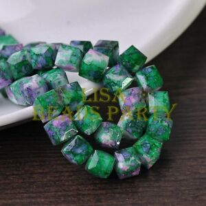 New-10pcs-10mm-Cube-Square-Faceted-Glass-Loose-Spacer-Colorful-Bead-Green-amp-Purple