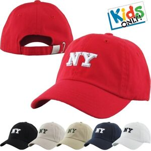 152b9538166 Kids Size NY New York Cotton Baseball Cap Adjustable Dad Hat Junior ...