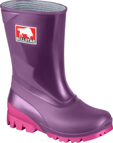 BULL Star Bambini-Stivali Stivali di gomma PVC MAXI FUXIA Mirtillo//Rosa Mis 23//24
