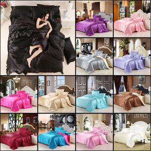 2019-Satin-Silk-Bedding-Set-Duvet-Quilt-Cover-Pillow-Case-Sheet-Twin-Queen-King