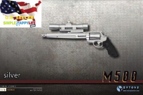 ZY2009C 1/6 Scale Pistol Weapon SILVER Gun M500 Magnum 12'' Figure hot toy ❶USA❶