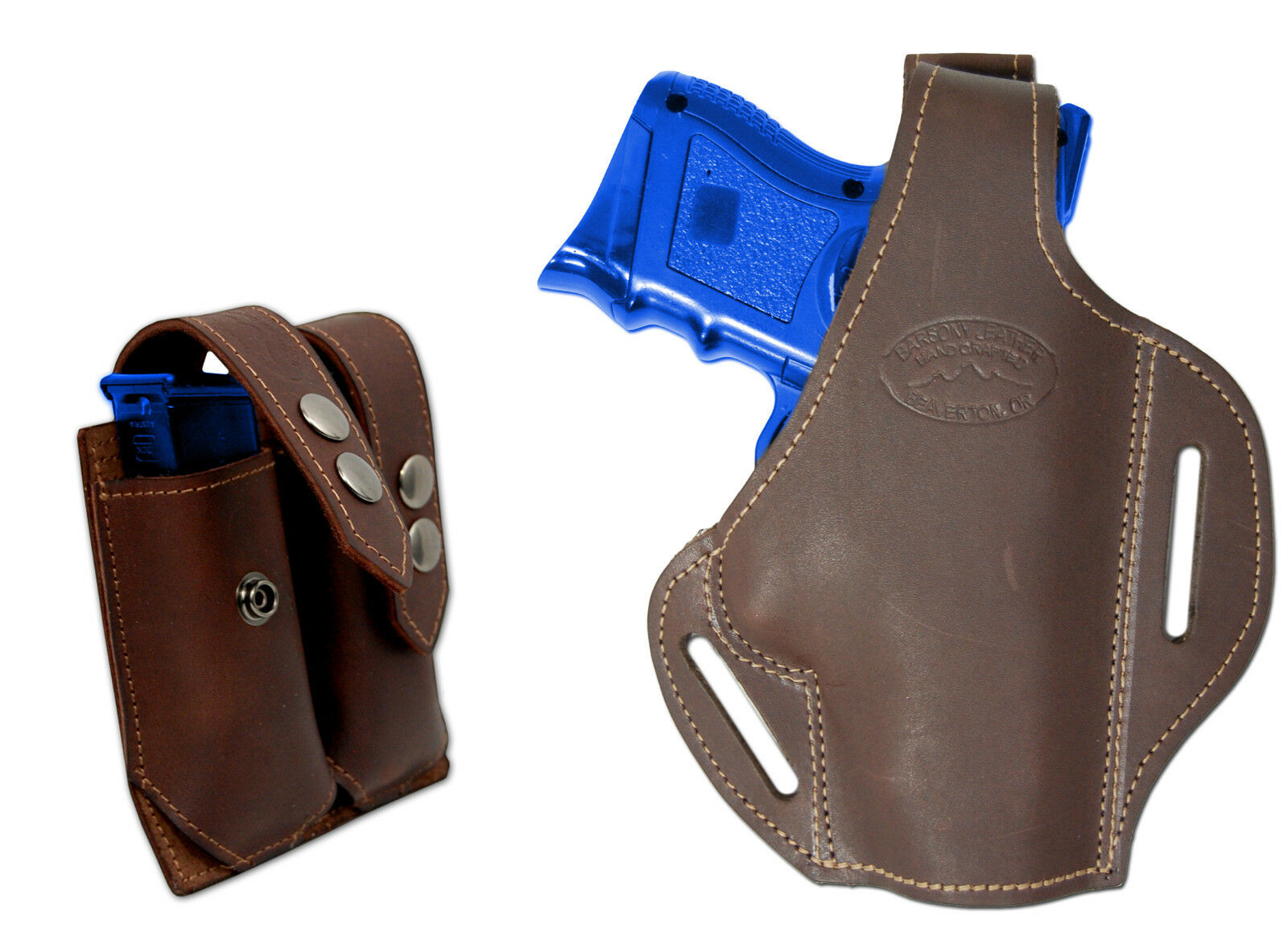 New Brown Leather Pancake Gun Holster + Dbl Mag Pouch Taurus Compact 9mm 40 45