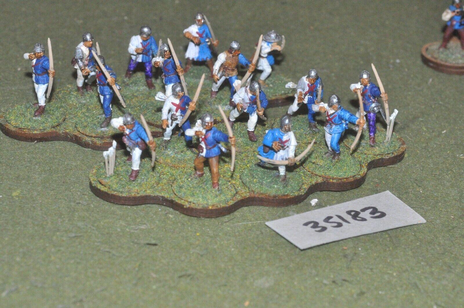 25mm medieval   burgundian - archers (plastic) glued in 16 figures - inf (35183)