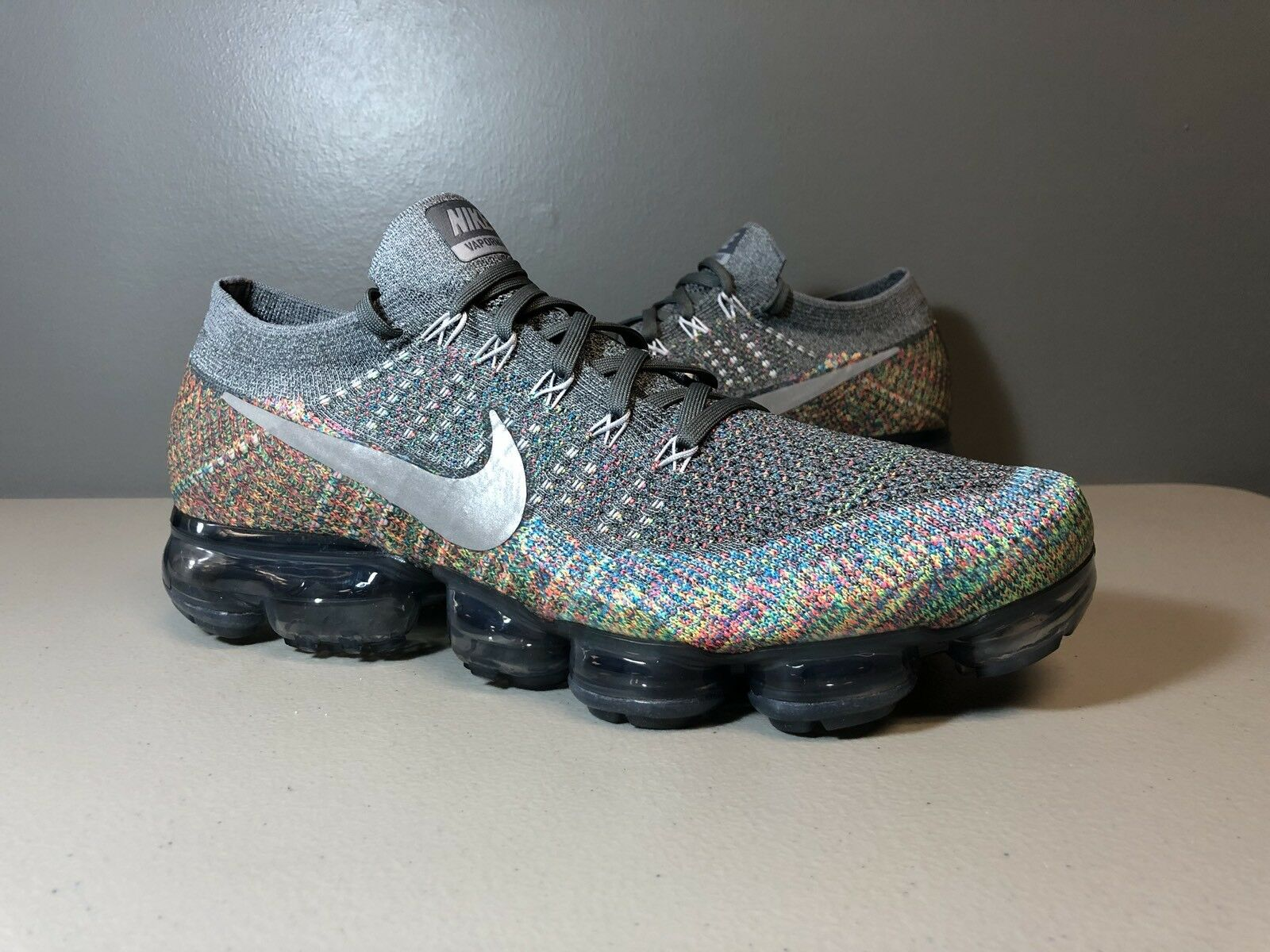 NIKE AIR VAPORMAX FLYKNIT MULTICOLOR SILVER 849558 019 SIZE 11 OFF WHITE Special limited time