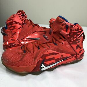 huge selection of a6ee7 e8579 Image is loading Nike-Lebron-XII-12-4th-of-July-Stars-