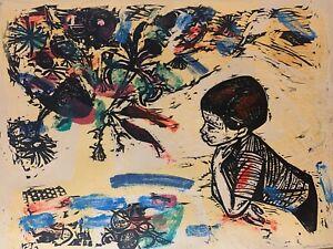 Irving-Amen-Original-Vintage-Signed-Art-034-SPRING-034-Woodcut-Signed-Artist-Proof