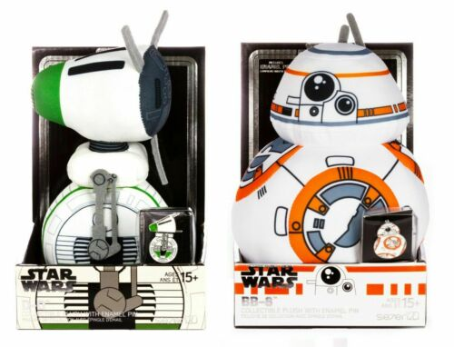 Star Wars D-O /& BB8 Stylized 7 Inch Plush With Enamel Pin Sets