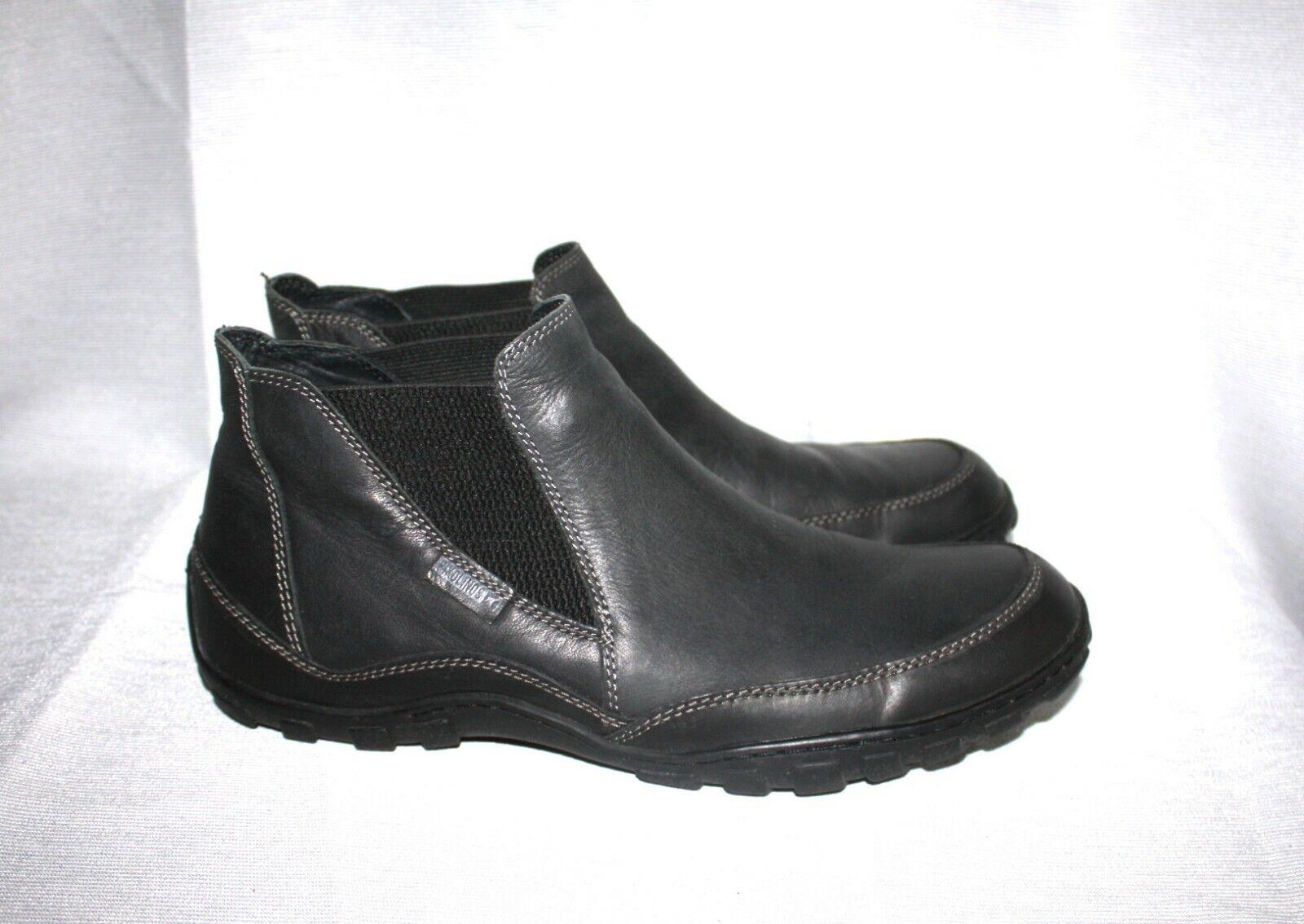 PIKOLINOS Anthracite Noir en Cuir Homme À Enfiler Chaussures bottes SZ 44 10.5-11