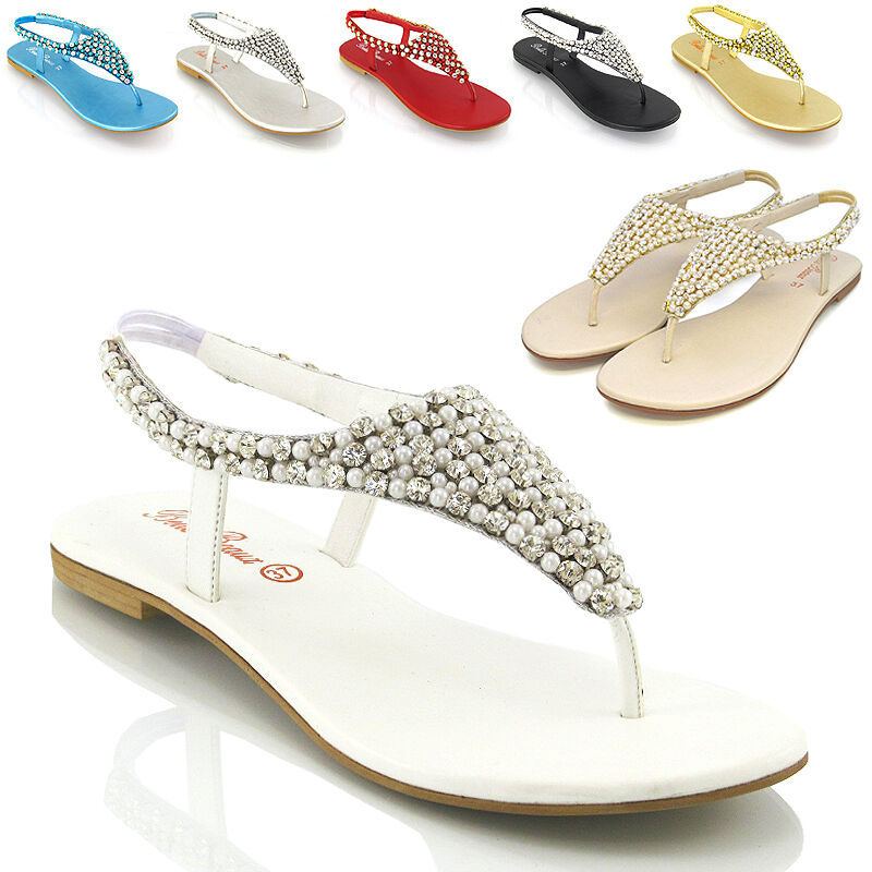 Womens Flat Sandals Diamante Party Pearl Ladies Slingback Holiday Casual Party Diamante Shoes f47fb6
