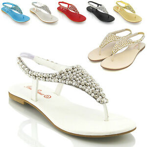 WOMENS-FLAT-SANDALS-DIAMANTE-PEARL-LADIES-SLINGBACK-HOLIDAY-CASUAL-PARTY-SHOES