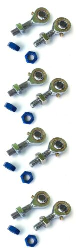 Pair; LH /& RH 8mm I.D with aluminum anodized jam nuts Racing Kart Tie Rod Ends