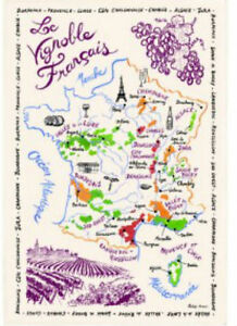 Areas Of France Map.Details About French Kitchen Dish Tea Towel Map Of France Wine Areas Cotton Made In France