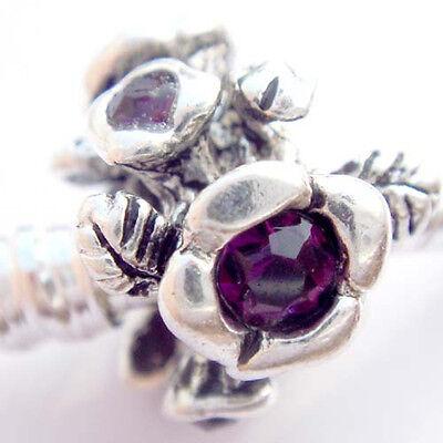 Purple flower Silver hallmarked Bead Stopper thread fit Charm Bracelet JS199