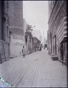TUNISIE-Tunis-une-Rue-c1900-NEGATIF-Photo-Stereo-Plaque-Verre-VR8L4n7