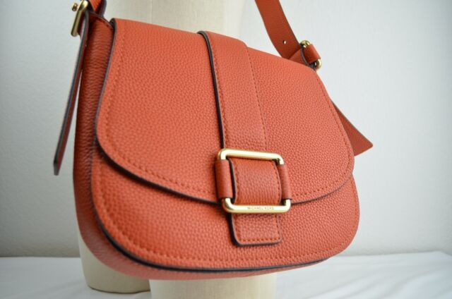 Michael Kors Orange Leather Maxine Large Saddle Bag Gold Tone Handbag