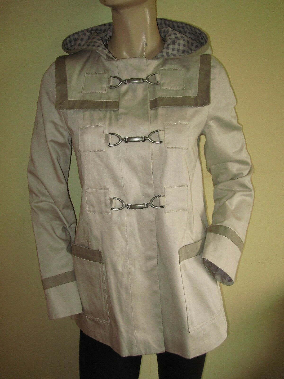 TopShop ~ Natural Stone Hooded Hip Length Fully Lined Jacket Coat Size 6