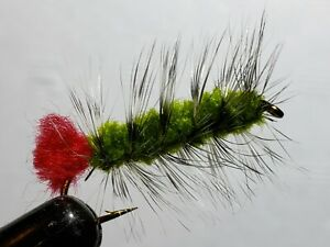 FLY-FISHING-FLIES-OLIVE-WOOLLY-WORM-2-FLIES-SIZE-10