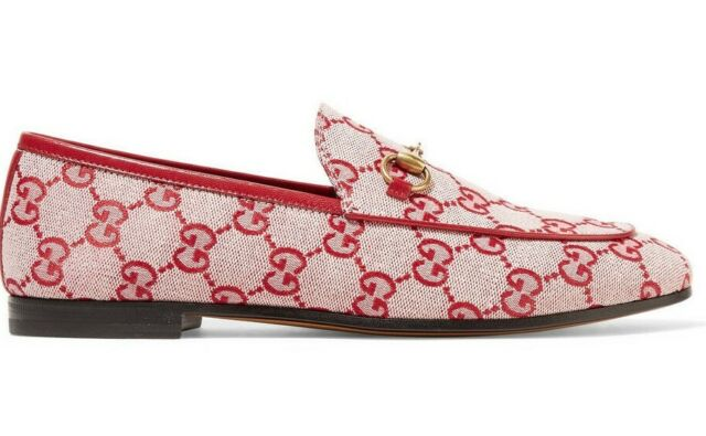 daec3e841 Gucci New Jordaan Red Canvas Logo Leather Brixton Loafer Mule Slipper Flat  42