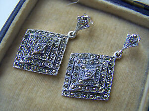 Image Is Loading Beautiful Vintage Style Large Sterling Silver Marcasite Earrings