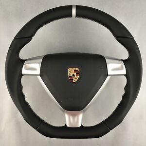 PORSCHE-EXCLUSIVE-997-987-GT-LENKRAD-VOLANTE-AIRBAG-BLACK-SILVER-STEERING-WHEEL