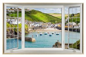 Port-Isaac-Cornwall-Village-3D-Effect-Bay-Window-Canvas-Picture-Wall-Art-Prints
