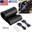 Black PU Leather DIY Car Steering Wheel Cover 38cm With Needles and Thread New