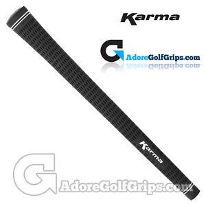 Karma-Velour-Standard-Size-Ribbed-Golf-Grips-Black-x-9