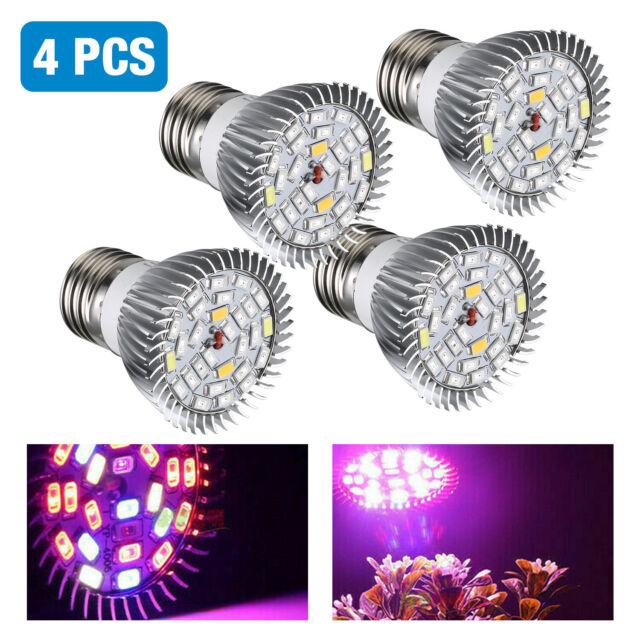4x  Full Spectrum E27 E26 LED Grow Light Bulb Lamp for Veg Bloom Indoor Plant