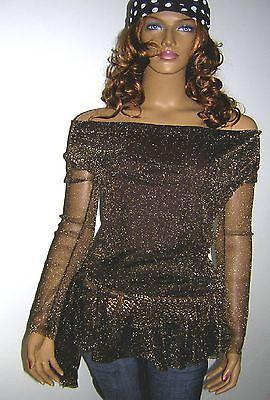 Tunika Romantik Gr. 36 Longshirt Shirt glanz gold braun glitzer lurex Longtop