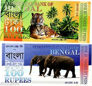Commercial-BANK-of-BENGAL-100-RUPEES-2014-POLYMER-TIGRE-ELEPHANT-NEUF-UNC