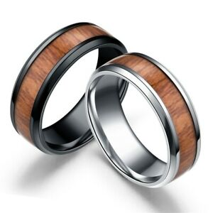 8mm-Band-Ring-Tungsten-Steel-Wood-Couple-Men-039-s-Stainless-Steel-Ring-Jewelry-6-12