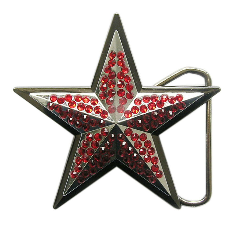 3D Black Chrome Star Red Rhinestones Metal Fashion Belt Buckle