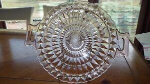 "Vintage Pink Handled Cake Plate Fostoria American 12"" Cake Plate Serving Plate E"