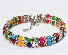 New Tibet silver multicolor jade turquoise bead bracelet Bangle